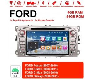 7 Zoll Android 10.0 Autoradio / Multimedia 4GB RAM 64GB ROM Für Ford Focus II Mondeo S-Max MIT dem verbauten DSP ( Digital Sound Prozessor )  und Bluetooth 5.0