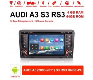 7 Zoll Android 10.0 Autoradio / Multimedia 4GB RAM 64GB ROM Für AUDI A3 (2003-2011) S3 RS3 RNSE-PU