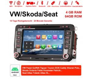 2 Din Android 10.0 Octa-Core 4GB RAM 64GB Autoradio / Multimedia Für VW GOLF JETTA POLO TOURAM PASSAT B6 mit GPS stereo radio usb WIFI