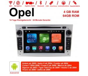 7 Zoll Android 9.0  Autoradio / Multimedia 4GB RAM 64GB ROM Für Opel Astra Vectra Antara Zafira Corsa GPS Navigation Radio Farbe Silber