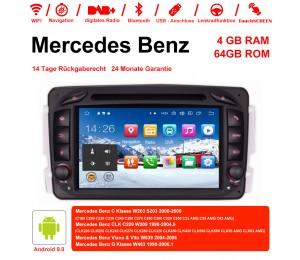 7 Zoll Android 9.0 Autoradio / Multimedia 4GB RAM 64GB ROM Für Benz C-klasse W203 W209 G-klasse W463 Eine Klasse W168 Vito