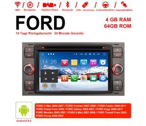 7 Zoll Android 9.0 Autoradio / Multimedia 4GB RAM 64GB ROM Für FORD Focus Fiesta Focus Fusion C/S-Max Transit Mondeo Farbe Grau