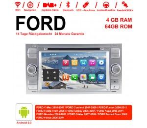 7 Zoll Android 9.0 Autoradio / Multimedia 4GB RAM 64GB ROM Für FORD Focus Fiesta Focus Fusion C/S-Max Transit Mondeo Farbe Silber
