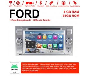 7 Zoll Android 10.0  Autoradio / Multimedia 4GB RAM 64GB ROM  Für FORD Focus Fiesta Focus Fusion C/S-Max Transit Mondeo Farbe Silber