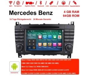 7 Zoll Android 9.0  Autoradio / Multimedia 4GB RAM 64GB ROM Für c-klasse W203 2004-2007 Clk W209 2005 A-w168 1998 2002 Clk-c209