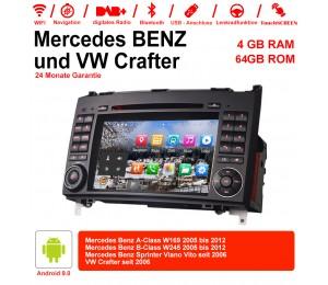7 Zoll Android 9.0 Autoradio / Multimedia 4GB RAM 64GB ROM Für Mercedes BENZ A Klasse W169, B Klasse W245, Sprinter Viano Vito und VW Crafter