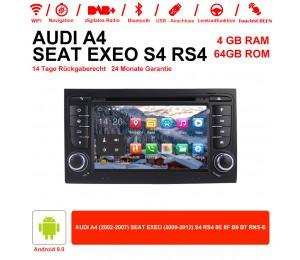 7 Zoll Android 9.0 Autoradio 4GB RAM 64GB ROM Für Audi A4/S4 GPS Navi WIFI USB BT