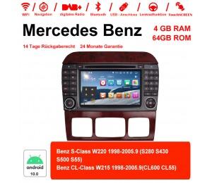 7 Zoll Android 10.0 Autoradio / Multimedia 4GB RAM 64GB ROM Für Benz W220 W215