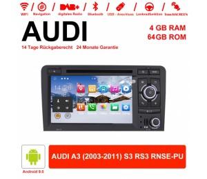 7 Zoll Android 9.0 Autoradio 4GB RAM 64GB ROM Für AUDI A3 (2003-2011) S3 RS3 RNSE-PU