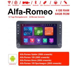 7 Zoll Android 9.0 Autoradio/Multimedia 4GB RAM 64GB ROM Für Alfa Romeo Spider 159 Brera 159 Sportwagon