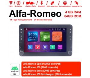 7 Zoll Android 10.0 Autoradio/Multimedia 4GB RAM 64GB ROM Für Alfa Romeo Spider 159 Brera 159 Sportwagon