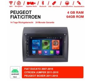 7 Zoll Android 10.0 Autoradio / Multimedia 4GB RAM 64GB ROM Für FIAT DUCATO CITROEN JUMPER PEUGEOT BOXER