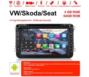 8 Zoll Android 9.0 Autoradio / Multimedia 4GB RAM 64GB ROM Für VW Passat CC Polo GOLF 5 6 Touran EOS T5 Sharan Jetta Tiguan
