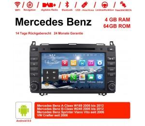8 Zoll Android 9.0 Autoradio / Multimedia 4GB RAM 64GB ROM Für Mercedes BENZ A Klasse W169, B Klasse W245, Sprinter Viano Vito und VW Crafter