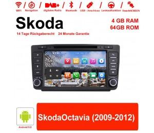 8 Zoll Android 9.0 Autoradio / Multimedia 4GB RAM 64GB ROM Für Skoda Octavia(2009-2012) mit Navi, Wifi, Bluetooth, USB...