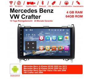 9 Zoll Android 9.0 Autoradio / Multimedia 4GB RAM 64GB ROM Für BENZ W169 W245 VW Crafter mit Navi, Wifi, Bluetooth, USB...