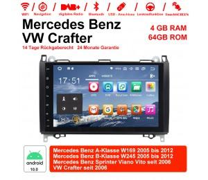 9 Zoll Android 10 Autoradio / Multimedia 4GB RAM 64GB ROM Für BENZ W169 W245 VW Crafter mit Navi, Wifi, Bluetooth, USB...