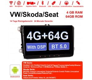 9 Zoll Android 9.0 Autoradio / Multimedia 4GB RAM 64GB ROM Für VW Magotan Passat Jetta Golf Tiguan Touran Seat Skoda Mit WiFi NAVI DSP Bluetooth 5.0