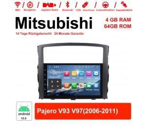 9 Zoll Android 10.0 Autoradio / Multimedia 4GB RAM 64GB ROM Für Mitsubishi Pajero V93 V97(2006-2011)