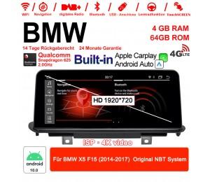 10,25 Zoll 4G LTE Android 10.0 Snapdragon 625 Autoradio / Multimedia 4GB RAM 64GB ROM Für BMW X5 F15 (2014-2017) Original NBT System MIT Navi Bluetooth WIFI Built-in Carplay