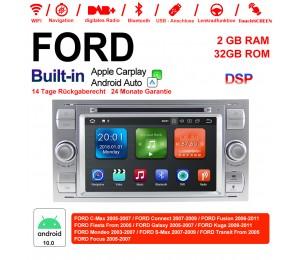 7 Zoll Android 10.0 Autoradio / Multimedia 2GB RAM 32GB ROM Für Ford Focus Fiesta Focus Fusion C/S-Max Transit Mondeo Farbe Silber