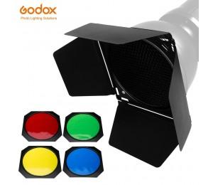 Godox BD-04 Scheune Tür + Honeycomb Grid + 4 Farbe Filter für Standard Reflektor