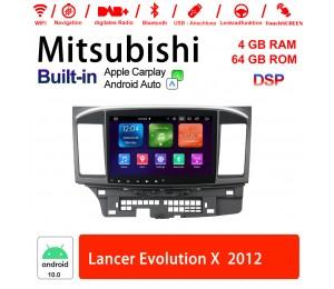 10Zoll Android 10.0 Autoradio / Multimedia 4GB RAM 64GB ROM Für Mitsubishi Lancer 2007-2015 Mit DSP Built-in Carplay Android Auto