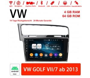 10 Zoll Android 10.0 Autoradio / Multimedia 4GB RAM 64GB ROM Für VW GOLF VII/7 Ab 2013 Mit WiFi NAVI Bluetooth USB