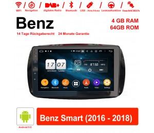 9 Zoll Android 9.0 Autoradio / Multimedia 4GB RAM 64GB ROM Für Benz Smart 2016-2018 Mit WiFi NAVI Bluetooth USB