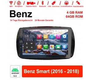 9 Zoll Android 10.0 Autoradio / Multimedia 4GB RAM 64GB ROM Für Benz Smart 2016-2018 Mit WiFi NAVI Bluetooth USB