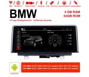 10.25 Zoll Roakchip PX5 8 Core 1,6 GHZ Android 9.0 Autoradio/Multimedia 4GB RAM 64GB ROM Für X5 E70 (2007-2013) BMW X6 E71 (2007-2014)
