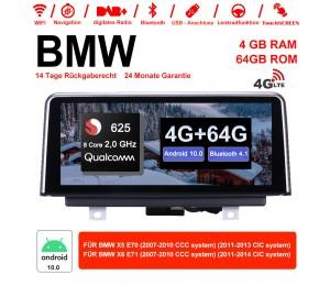 10.25 Zoll Qualcomm Snapdragon 625 8 Core 2.0 GHZ Android 10.0 4G LTE Autoradio/Multimedia 4GB RAM 64GB ROM Für X5 E70 (2007-2013) BMW X6 E71 (2007-2014)