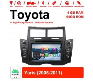 6.2'' Android 10.0 Octa core 4GB RAM 64GB Flash Autoradio / Multimedia Für Toyota Yaris 2005-2011 Mit WiFi NAVI Bluetooth USB