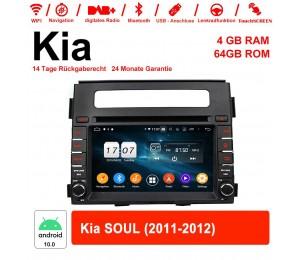 6.2 Zoll Android 10.0 Autoradio / Multimedia 4GB RAM 64GB ROM Für Kia SOUL 2011-2012 Mit WiFi NAVI Bluetooth USB