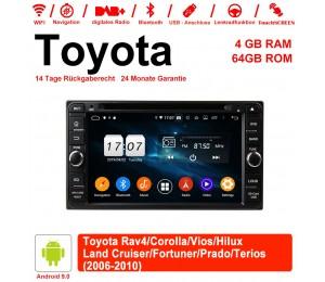 6.95 Zoll Android 9.0 Autoradio / Multimedia 4GB RAM 64GB ROM Für Toyota Vios Hilux Land Cruiser 2006-2010 Mit WiFi NAVI Bluetooth USB