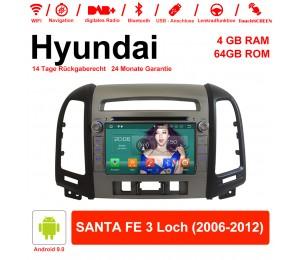 7 Zoll Android 9.0 Autoradio / Multimedia 4GB RAM 64GB ROM Für Hyundai SANTA FE 3 Loch 2006-2012 Mit WiFi NAVI Bluetooth USB