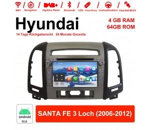 7 Zoll Android 10.0 Autoradio / Multimedia 4GB RAM 64GB ROM Für Hyundai SANTA FE 3 Loch 2006-2012 Mit WiFi NAVI Bluetooth USB