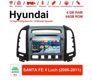 7 Zoll Android 10.0 Autoradio / Multimedia 4GB RAM 64GB ROM Für Hyundai SANTA FE 4 Loch 2006-2011 Mit WiFi NAVI Bluetooth USB