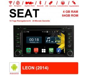 7 Zoll Android 9.0 Autoradio / Multimedia 4GB RAM 64GB ROM Für SEAT LEON 2014 Mit WiFi NAVI Bluetooth USB