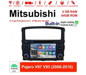 7 Zoll Android 10.0 Autoradio / Multimedia 4GB RAM 64GB ROM Für Mitsubishi Pajero V97 V93 2006-2016 Built-in CarPlay / Android Auto