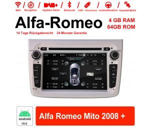 7 Zoll Android 10.0 Autoradio / Multimedia 4GB RAM 64GB ROM Für Alfa Romeo Mito 2008 + Mit WiFi NAVI Bluetooth USB