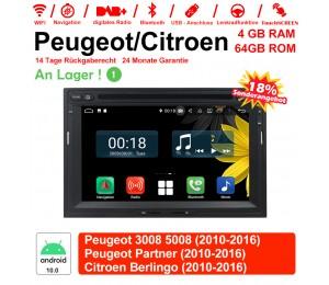 7 Zoll Android 10.0 Autoradio/Multimedia 4GB RAM 64GB ROM Für Peugeot 3008 5008 Partner / Citroen Berlingo Mit WiFi NAVI Bluetooth USB