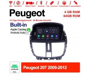 7 Zoll Android 10.0 Autoradio / Multimedia 4GB RAM 64GB ROM Für Peugeot 207 2009-2012 Built-in Carplay / Android Auto
