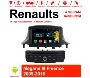 7 Zoll Android 9.0 Autoradio / Multimedia 4GB RAM 64GB ROM Für RENAULT Megane III Mit WiFi NAVI Bluetooth USB
