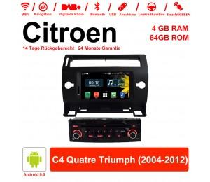 7 Zoll Android 9.0 Autoradio / Multimedia 4GB RAM 64GB ROM Für Citroen C4 Quatre Triumph 2004-2012 Mit WiFi NAVI Bluetooth USB