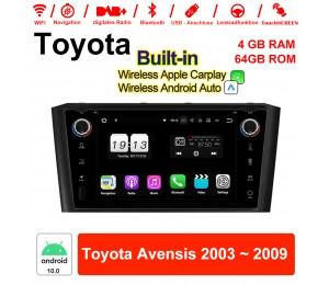 7'' Android 10.0 Octa-core 4GB RAM 64GB ROM Autoradio / Multimedia Für Toyota Avensis 2003 ~ 2009 Mit WiFi NAVI Bluetooth USB Built-in Carplay Android Auto
