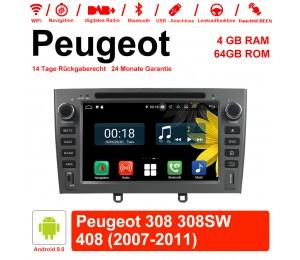 7 Zoll Android 9.0 Autoradio/Multimedia 4GB RAM 64GB ROM Für Peugeot 308 308SW 408 2007-2011 Mit WiFi NAVI Bluetooth USB