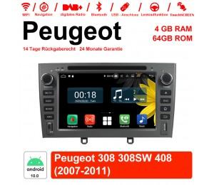 7 Zoll Android 10.0 Autoradio/Multimedia 4GB RAM 64GB ROM Für Peugeot 308 308SW 408 2007-2011 Mit WiFi NAVI Bluetooth USB