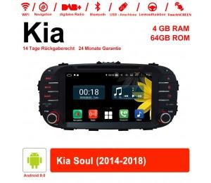 8 Zoll Android 9.0 Autoradio / Multimedia 4GB RAM 64GB ROM Für Kia Soul 2014-2018 Mit WiFi NAVI Bluetooth USB