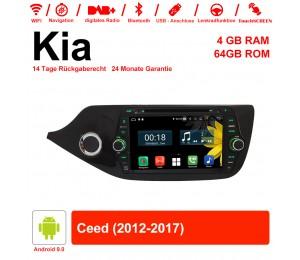 8 Zoll Android 9.0 Autoradio / Multimedia 4GB RAM 64GB ROM Für Kia Ceed 2012-2017 Mit WiFi NAVI Bluetooth USB